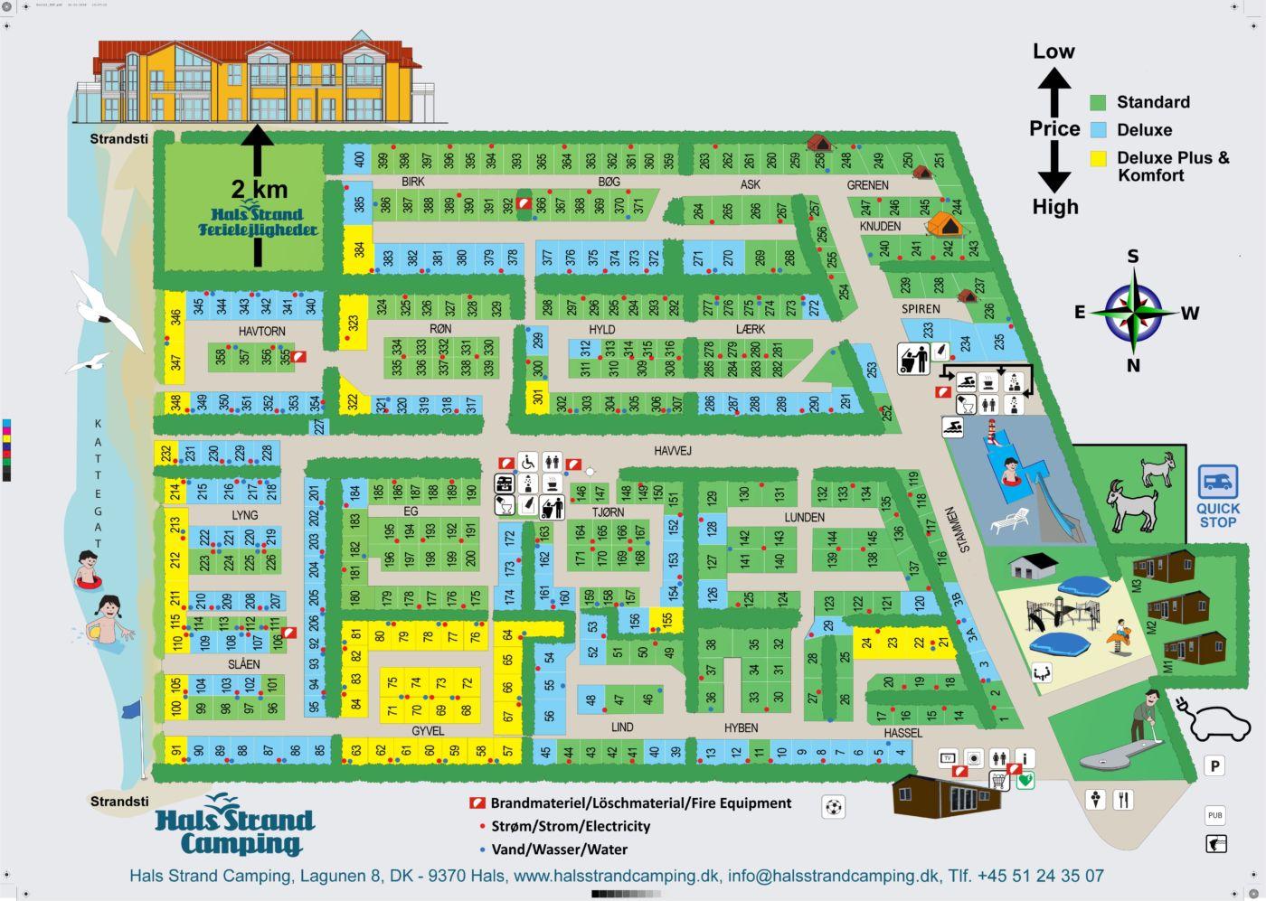 Kort over pladsen Hals Strand Camping 2020